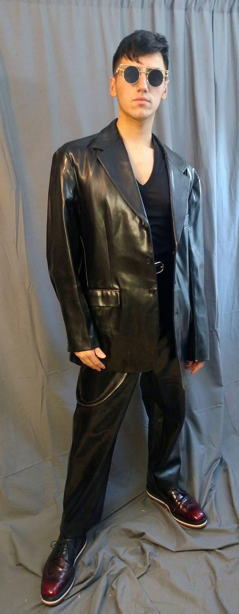 1990s Armani Exchange 2 Piece  Vinyl Suit  / 90s Black Vinyl image 0