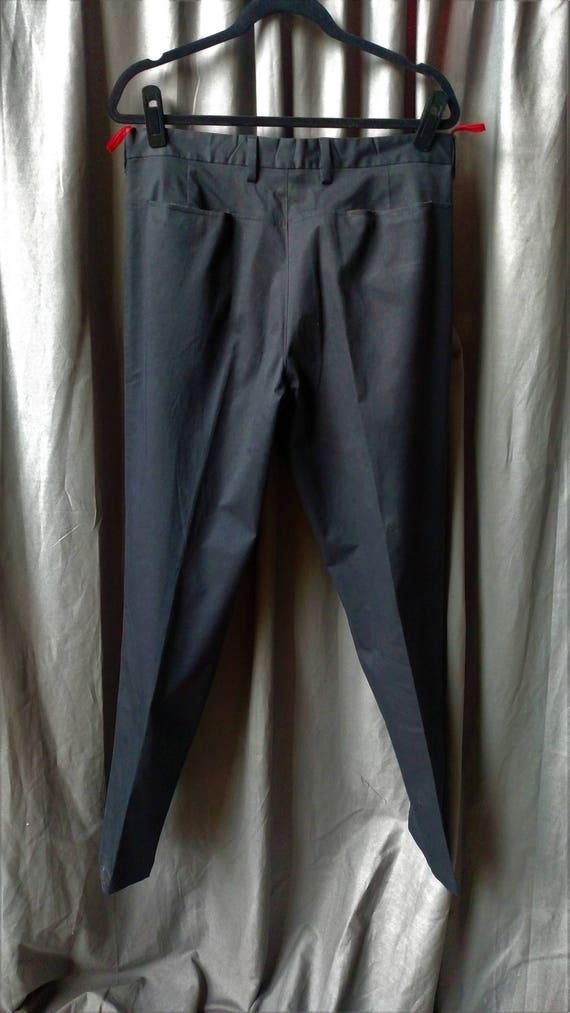 Vintage 1990s Men' s Prada Flat Front Pants in Bl… - image 8