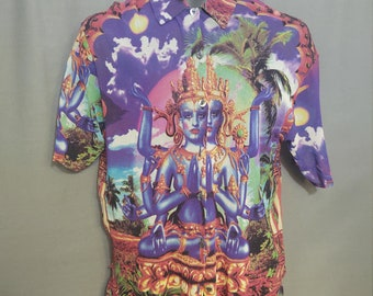 Jean Paul Gaultier Mesh Tribal Hindu Deity Shirt with Mother of Pearl Buttons Size US40  Made in Italy