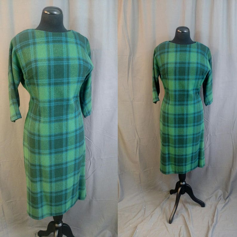 1960s Vintage BEST & CO Wool Plaid Dress Marion in Green and image 0