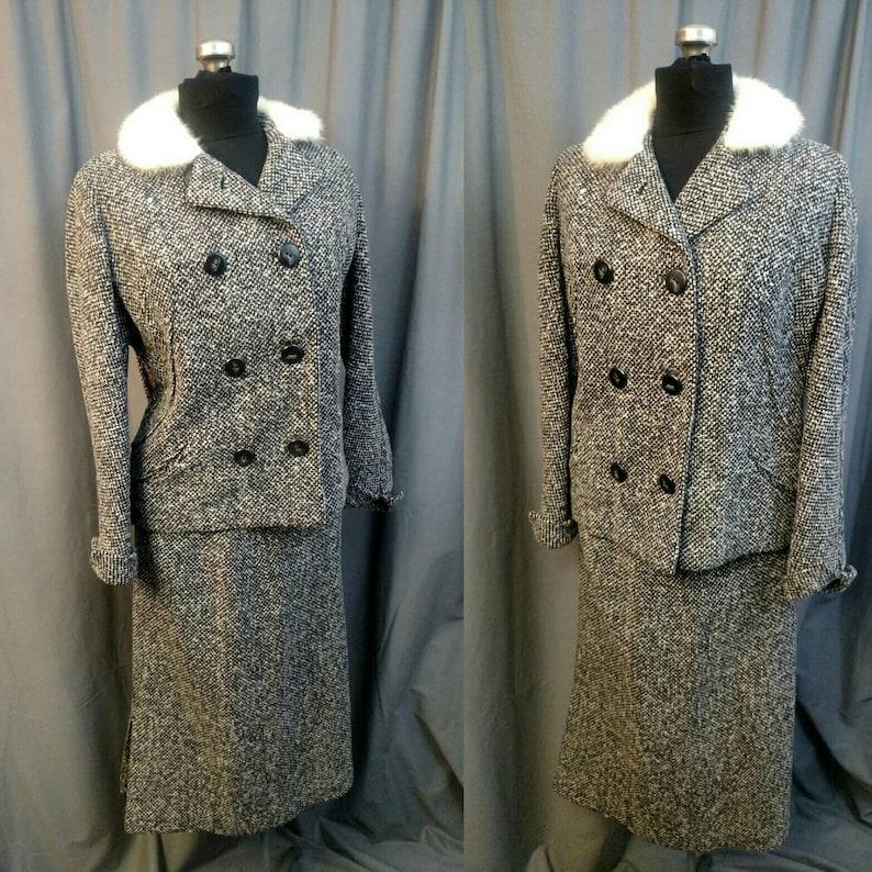 Dan Millstein Wool Tweed Skirt Suit with White Mink Trim image 0