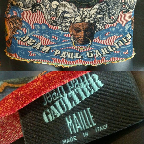 1994 Jean argent Paul Gaultier argent Jean maille Tribal chemise pour hommes / des années 1990 Vintage JPG Tanel porté chemise Made in Italy a0fb69