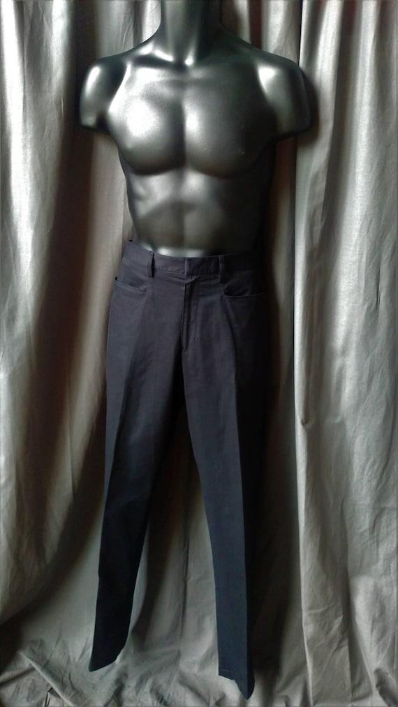 Vintage 1990s Men' s Prada Flat Front Pants in Bla