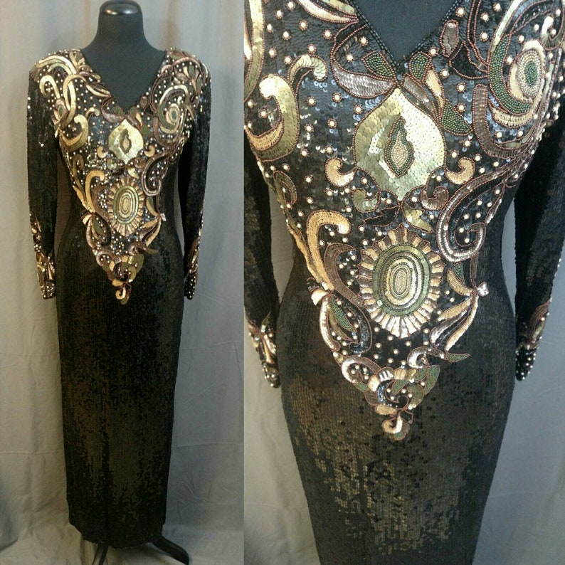 1980s Vintage Oleg Cassini Black Sequin and beaded Gown  80s image 0