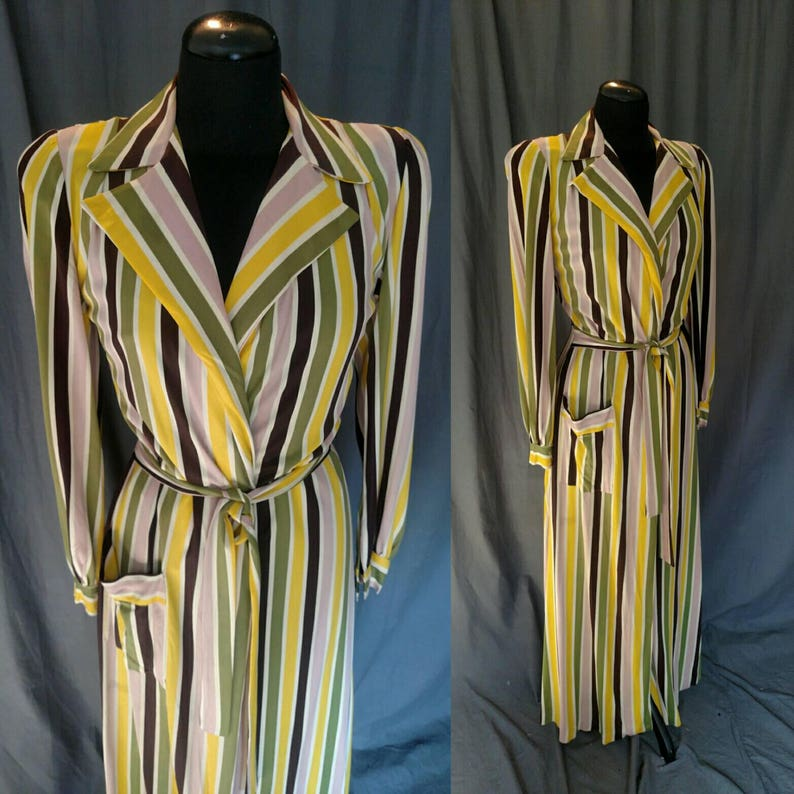 Vintage 1940s Multi-color Stripped Robe  Bloomingdales Mauve image 0