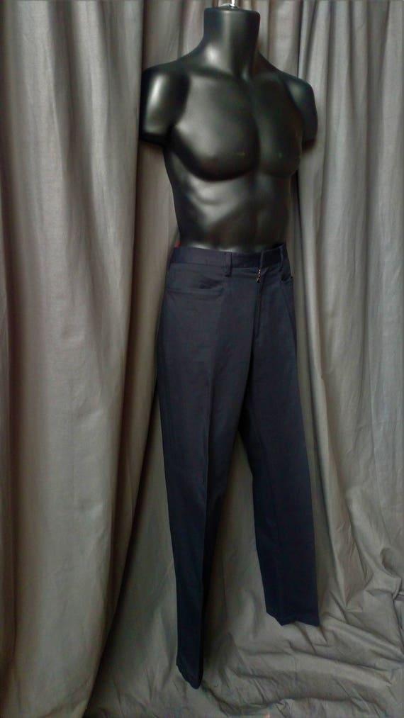Vintage 1990s Men' s Prada Flat Front Pants in Bl… - image 2