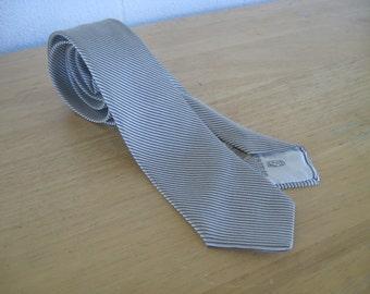 Vintage 1950s Silk Skinny Necktie by Fagman Hotel Sherman 50s Silver Silk Jacquard Tie with black diagonal Stripes