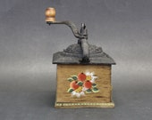 Vintage Wood and Cast Iron Coffee Grinder with Tole Painted Details (E12244)