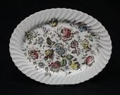 Vintage Staffordshire Floral Oval Platter (V2479)