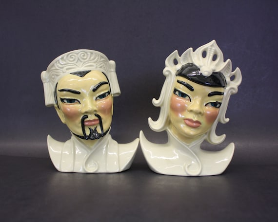 Vintage Ceramic Art Studio Manchu Man Amp Lotus Woman Head