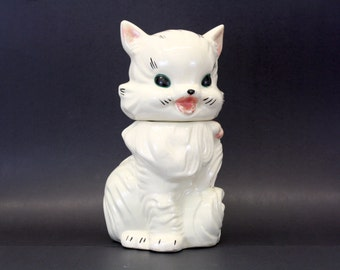 Vintage Fluffy White Cat American Bisque Cookie Jar (E1012)