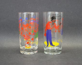 Vintage Colorful Circus Themed Glass Tumblers, Set of 2 (E9472)