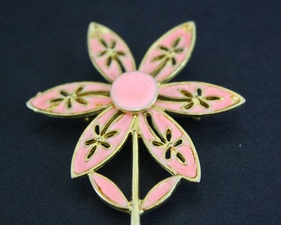 Vintage Bright Peach Flower Novelty Brooch (E6796) - image 5