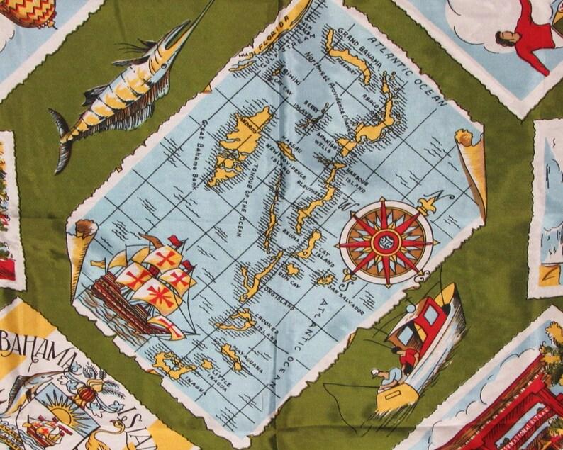 E10037 Vintage Green Silk Bahama Islands Souvenir Scarf