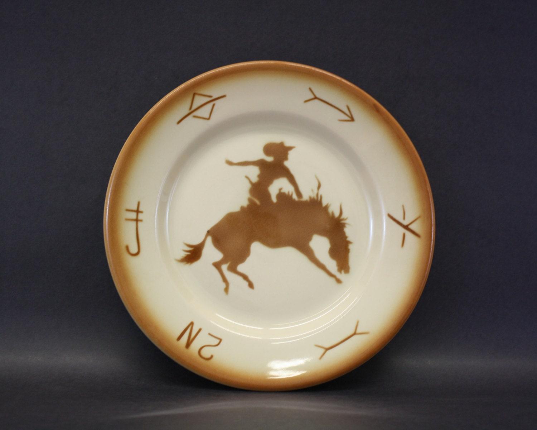 Vintage Jackson China Bucking Bronco Cowboy Dinner Plate (E2132)