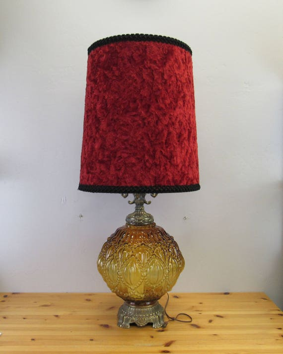Vintage Amber Bubble Glass Table Lamp With Red Velvet Shade Etsy