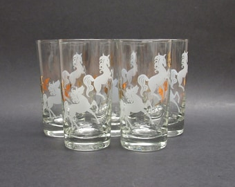 Vintage White and Gold Horse Glasses, Set of 5 (E9887)