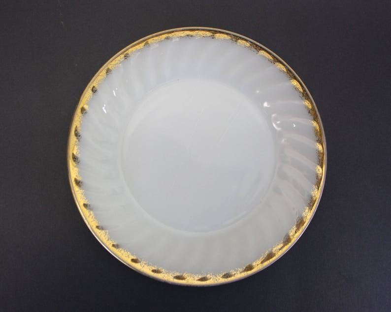 Vintage Fire King Milk Glass Salad Plate with Gold Edge image 0