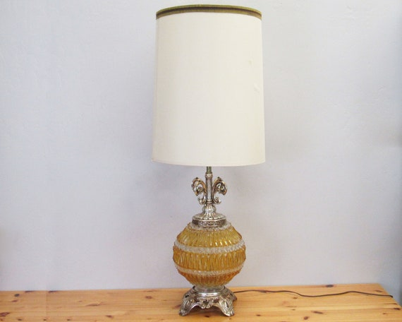 Vintage Orange Pressed Glass Lighted Base Table Lamp W Shade Etsy
