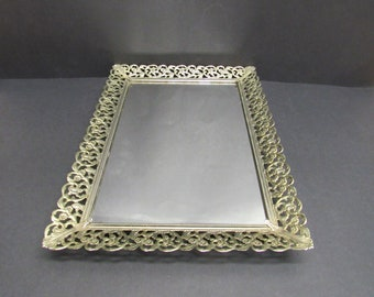 Vintage Ornate Goldtone Filigreed Edge Mirrored Vanity Tray (E10111)