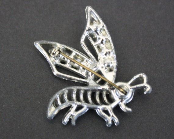 Vintage Silver Bee Novelty Brooch with Rhinestone… - image 3