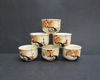 Vintage Orange and Black Floral Japanese Tea Cups, Set of 6 (E10120)