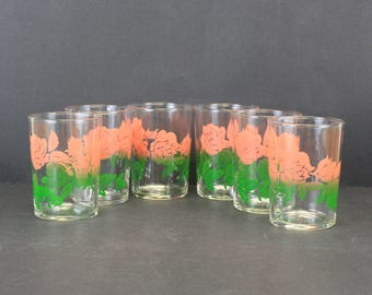 Vintage Federal Glass Pink Rose Juice Glasses, Set of 6 (E8741)