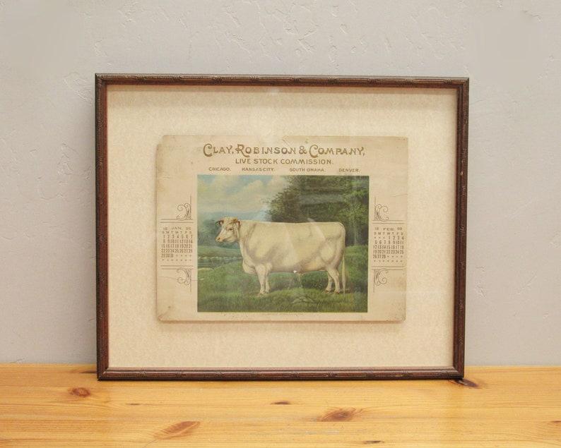 Vintage Framed 1899 Clarence Kirklevington Charolais Steer Calendar Page E10988
