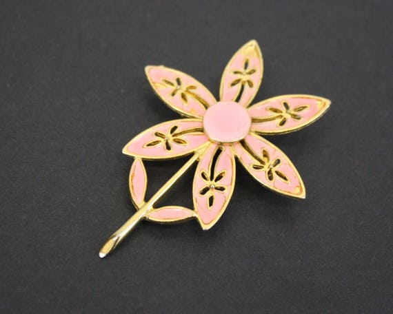 Vintage Bright Peach Flower Novelty Brooch (E6796) - image 2