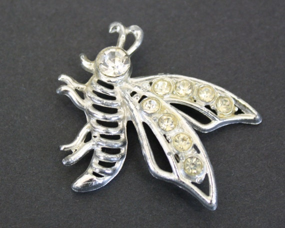 Vintage Silver Bee Novelty Brooch with Rhinestone… - image 5