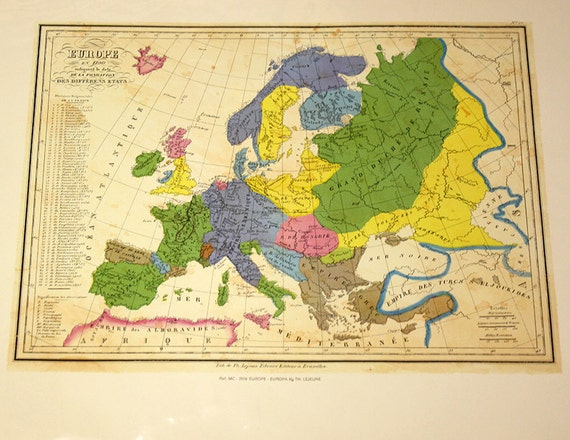 Map Of Europe 1100 Ad.Vintage 1975 Reproduction Of 1100ad Europe Map E888 Etsy