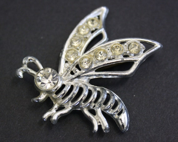 Vintage Silver Bee Novelty Brooch with Rhinestone… - image 6
