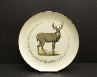 Vintage 1976 Edward Bierly American White Tailed Deer Ghent Decorative Plate (E10169)