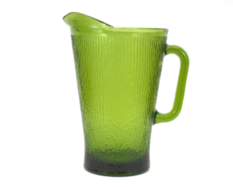 vintage textured green glass beer pitcher e3350 etsy. Black Bedroom Furniture Sets. Home Design Ideas