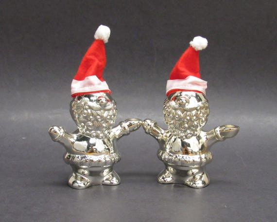 85dc6a71d8680c Vintage Rogers Silver Santa with Red Felt Hat Candle Holders | Etsy