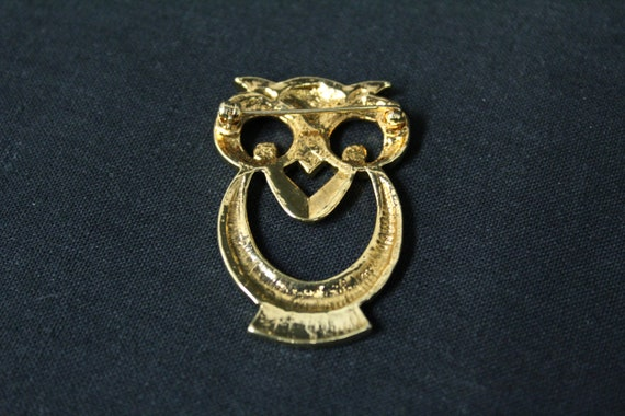 Vintage Gold Metal Owl Novelty Brooch (V1604) - image 2