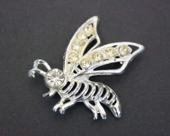 Vintage Silver Bee Novelty Brooch with Rhinestone… - image 1