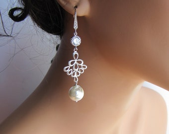 Long dangle pearl earrings, bridal chandelier earrings, South sea shell pearl earrings sterling silver ear hooks - BE104