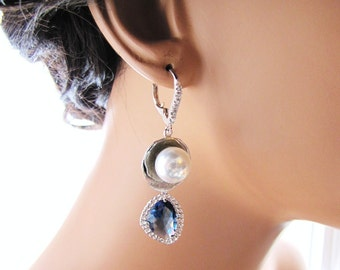 Blue bridal earrings, long dangle drop earrings with south sea shell pearl and Montana blue stone