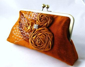 Rust silk clutch purse, orange rosette bridal clutch, Unique wedding clutch, Evening purse - Rustic bouquet
