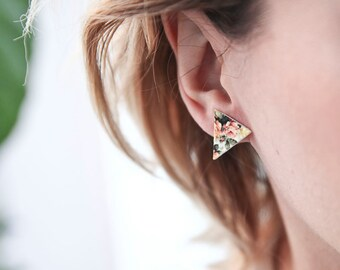 Flower Pattern Triangle Geometric Stud Earrings