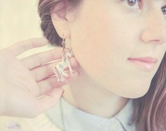SALE!! Unicorn / Licorne Dangle Dangler Earrings. Pastel Lilac Fairy Tale Wonderland Jewelry. Made in Plastic.