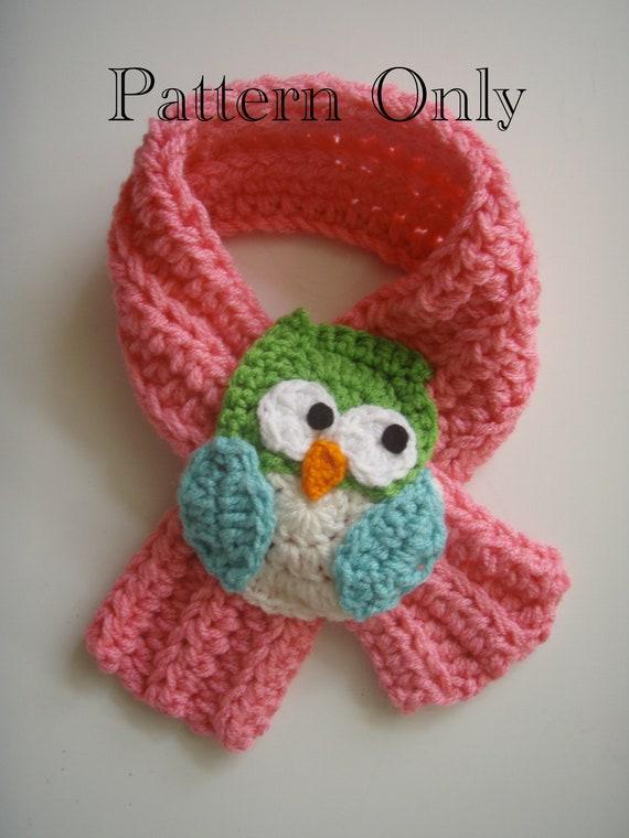 Crochet Owl Scarf Scarfette Pattern Pdf Etsy