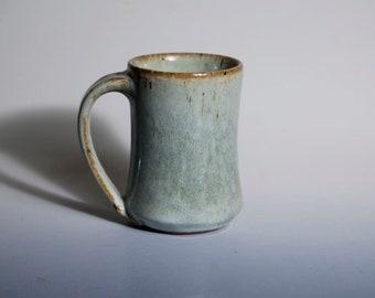 Stoneware mug glazed in slate blue, gray blue