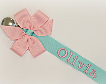 Girl Pacifier Clip Teal & Pink Pacifier Holder Baby Girl Personalized Nuk Soothie Nam Paci Holder Baby Gift Personalized Baby Gift