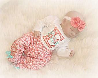 Personalized Baby Girl Coming Home Outfit Newborn Girl Take Home Outfit Coral Teal Baby Girl Clothes Bodysuit Pants Headband Opt. Baby Gift