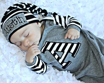 Preemie Baby Boy Personalized Newborn Baby Boy Gown Personalized Hat Newborn  Take Home Outfit Baby Boy Clothes New Baby Gift Set Baby Gift 68be6ebe2b7a