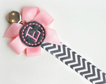 Personalized Pacifier Clip Pink and Gray Chevron Monogram Baby Girl Soothie Personalized Baby Pacifier Holder Great for Twins