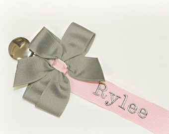 Pacifier Clip Personalized Pacifier Clip Pink & Gray Baby Girl Personalized Soothie Clip Nuk Paci Clip Newborn Baby gift