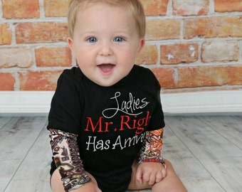 Tattoo Baby Boy Clothes Take Home Outfit Tattoo Sleeve Bodysuit Embroidered Ladies Mr. Right Has Arrived Newborn Boy up to 5T  New Baby Gift